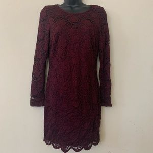 A. Byer Maroon Long Sleeve Lace Overlay Dress